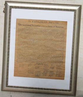 Framed Copy Of The Declaration Of Independence -