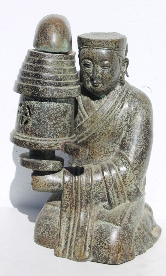 ca 1940 bronze Temple lamp, after Han Dynasty (ChangXin