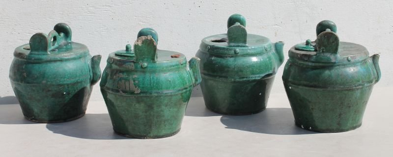 lot of 4 antique Chinese clay pots w lids in green