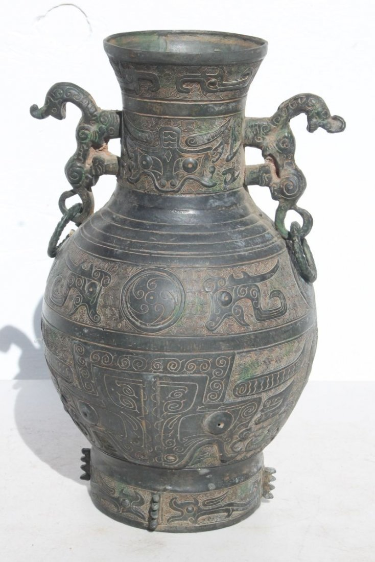 """Chinese bronze archaic style vase - 12"""" tall"""
