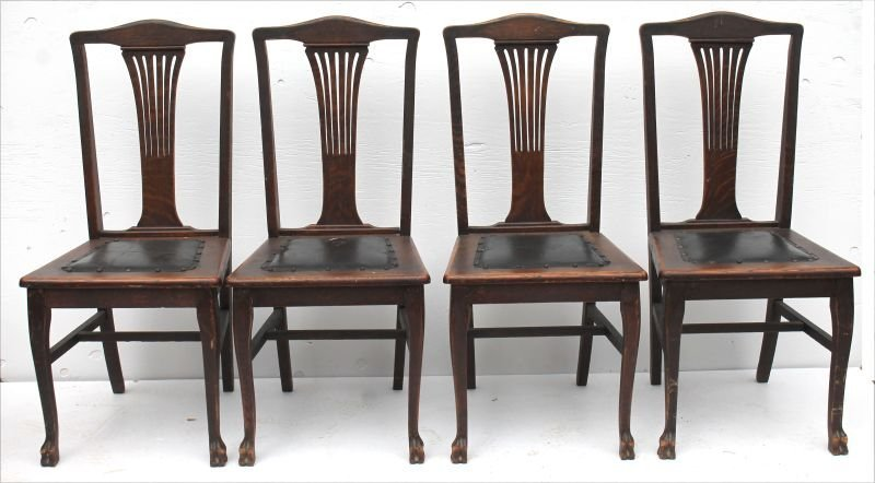 set of 4 antique oak paw ft dining chairs w pierced