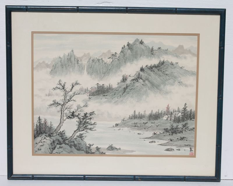 "Chinese hand colored print marked Xiong - 17 1/2"" x 23"