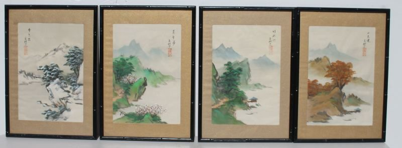 4 Japanese paintings on silk of the Four Seasons in