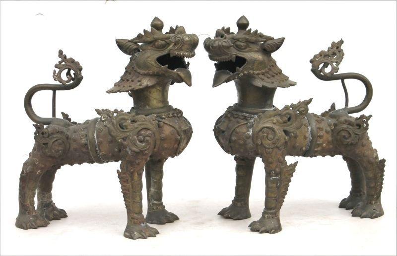 "pr of Chinese bronze Foo Lions - 17"" tall x 16"" long"