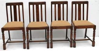 set of 4 oak English Arts & crafts influenced dining