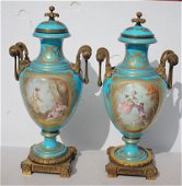 Wonderful pr of early 19thC hand painted Sevres artist