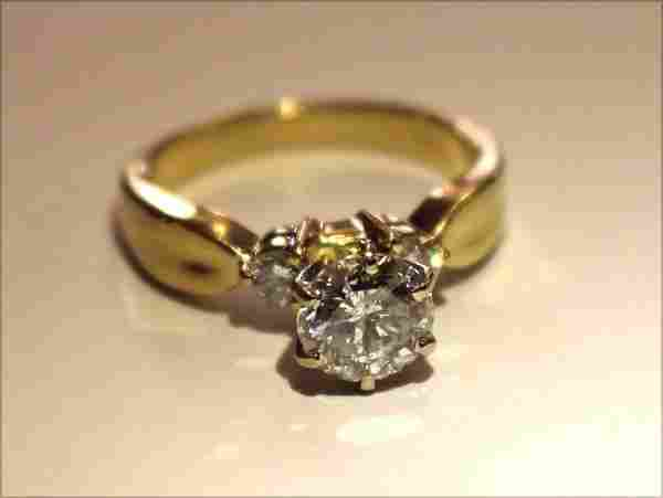 14k gold diamond solitaire ring w approx 1ct center