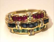 14k gold ring w channel set rubies emeralds sapphires