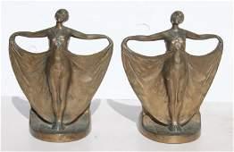 pr of ca 1925 Art Deco period bronze figural dancer
