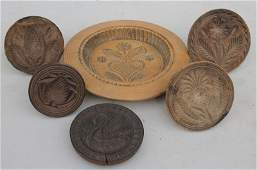 lot of 6 antique wooden carved butter molds - 4 w