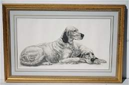 copyright 1938 (Paris) large print of two dogs in fancy
