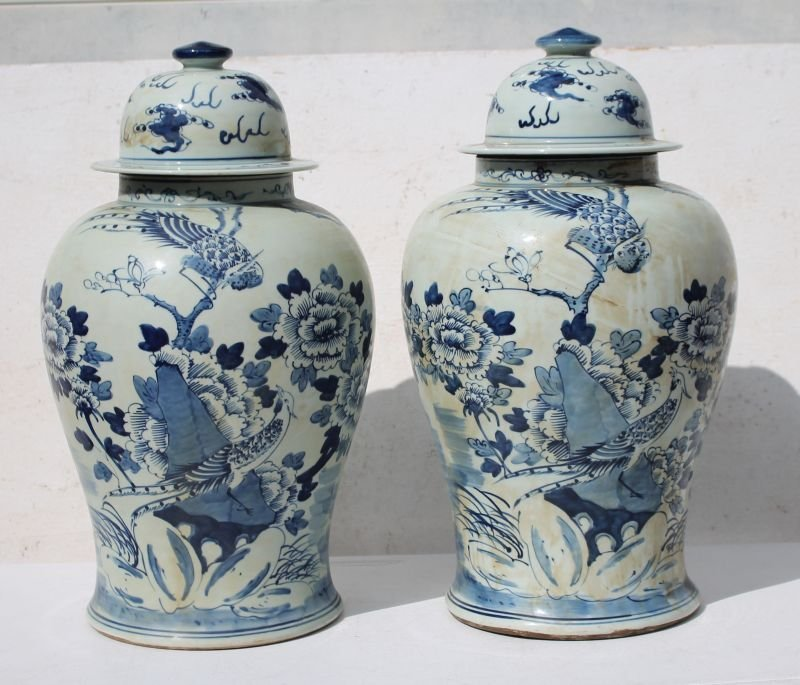 "pr of 18 1/2"" tall Chinese blue & white porcelain"