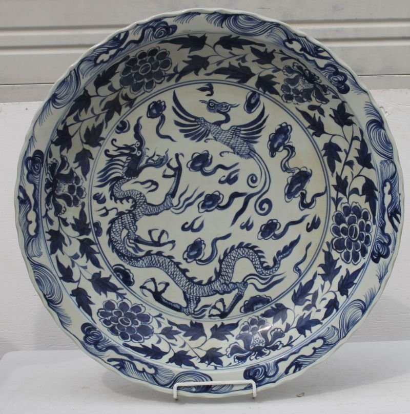 Very large Chinese blue & white porcelain platter w