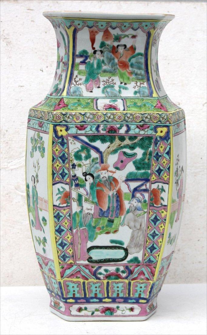 "19thC Chinese porcelain 17 1/4"" tall hexagonal shaped"