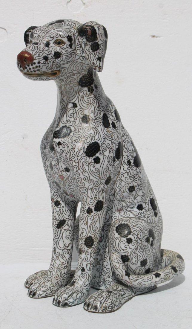 large antique Cloisonne spotted dog (Dalmatian ?) 14