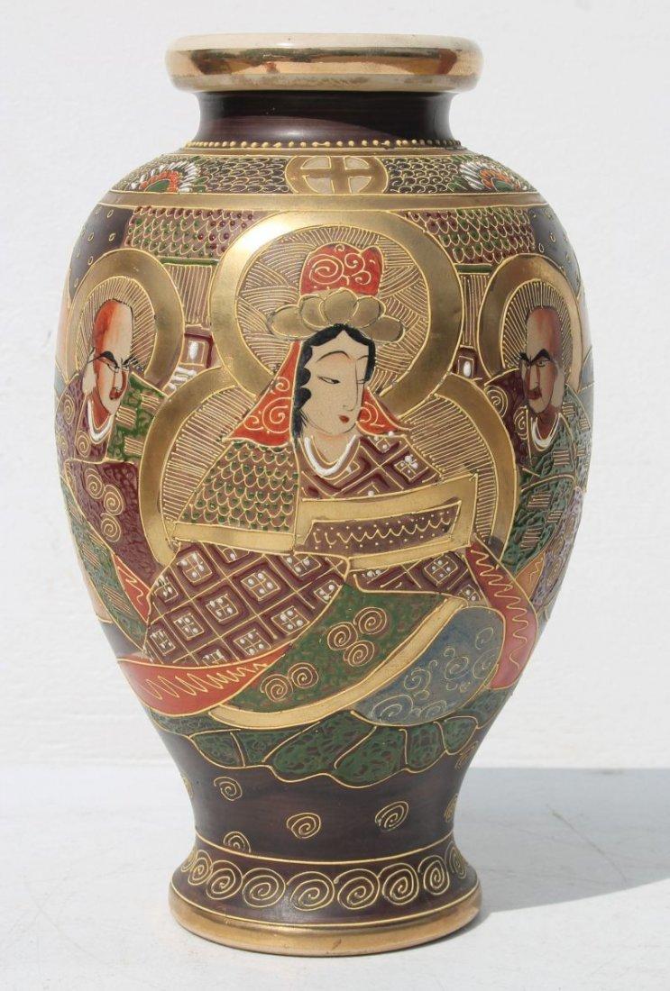 antique Japanese Satsuma vase w hand painted & gilded