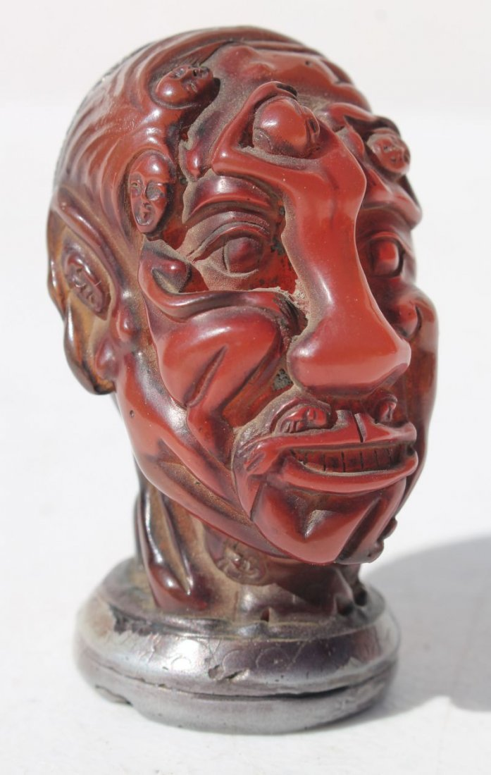 Japanese chop - bust of a man w erotic carved features
