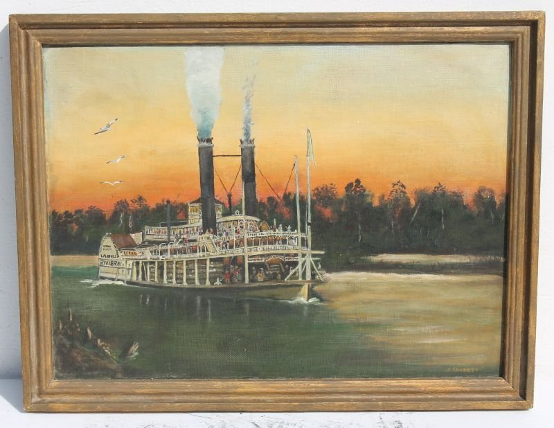 """ca 1880-1900 well detailed 12""""x16"""" o/bd of a steam"""