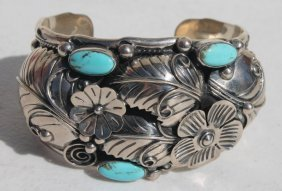 Fine Quality Southwest Sterling & Turquoise Cuff