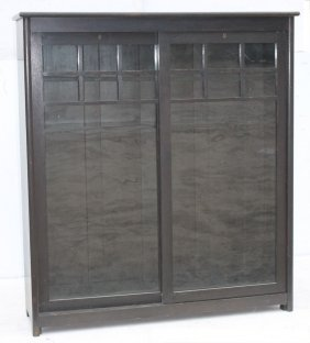 Vintage Arts & Crafts Oak Sliding 2 Door Bkcase In Orig