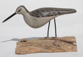 Dated 1977 Carved Shorebird Decoy Sgnd Dot Quillen Of
