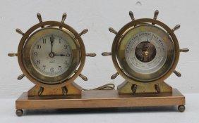 Wonderful Bronze Or Brass Clock/barometer Combination -