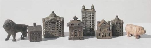 lot of 8 antique cast iron still banks - 6 buildings &