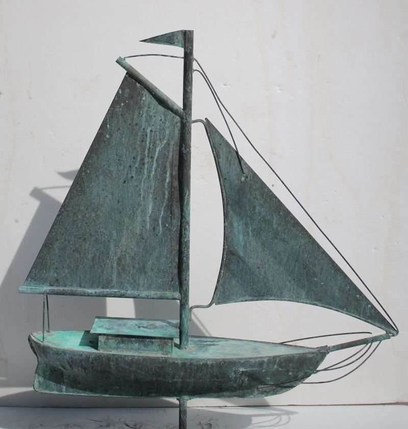 ca 1920's/30's Cape Cod copper full form 3D sailboat