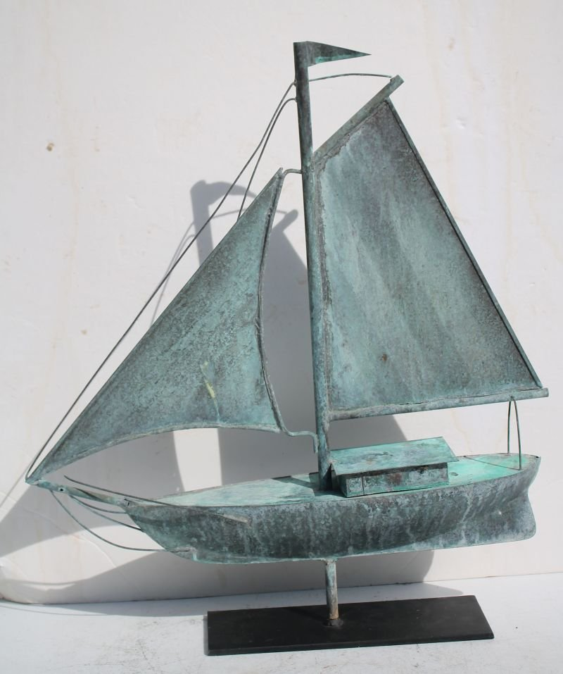 ca 1920's/30's Cape Cod copper full form 3D sailboat - 3