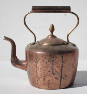 Very Nice Antique Copper & Brass Dovetailed Tea Kettle