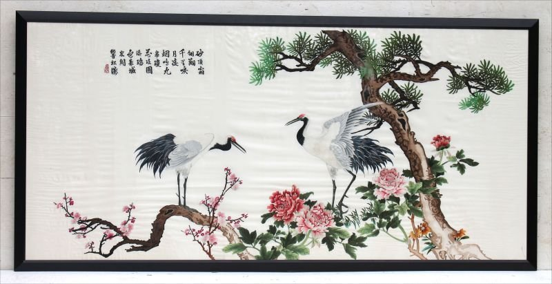 very large Chinese silk embroidery on silk depicting