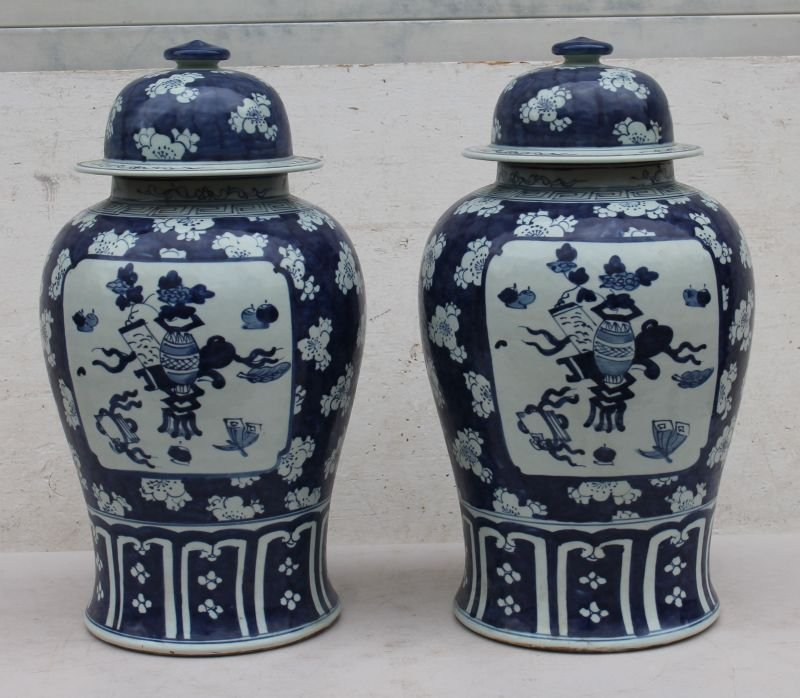 """pr of Chinese blue & white porcelain temple jars - 19"""""""