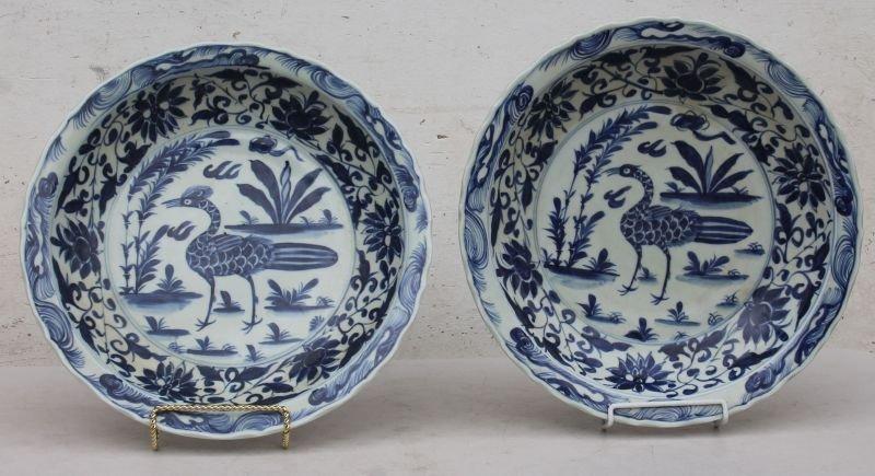 rare pr of Chinese blue & white porcelain platters