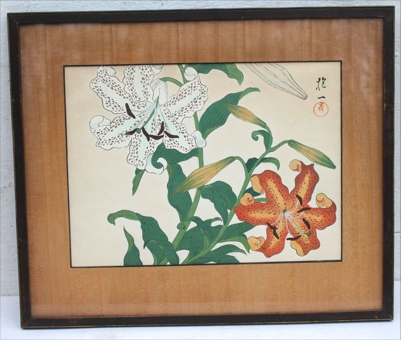 pr of matching framed & matted Japanese woodblock