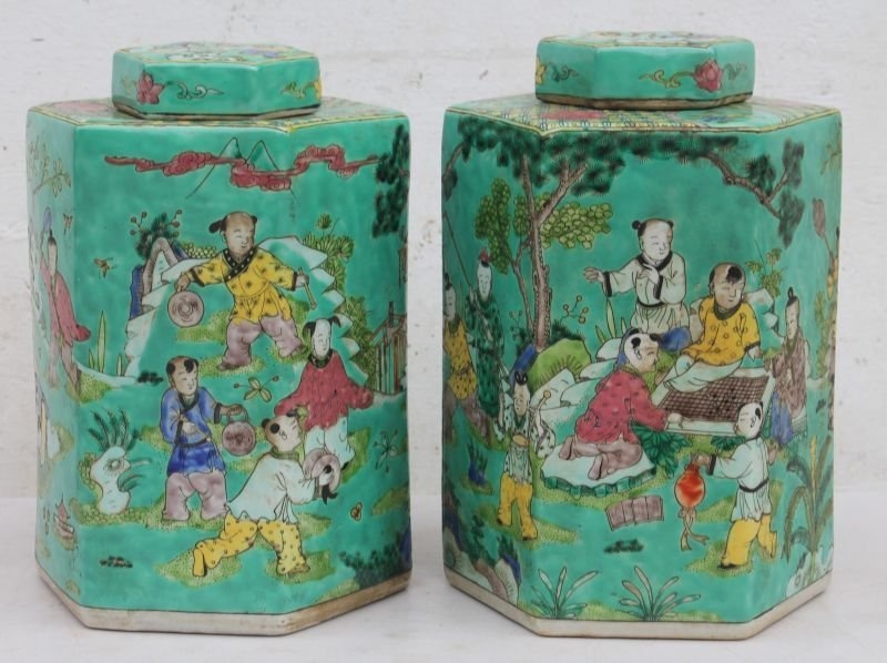 pr of Chinese porcelain hexagonal shaped covered