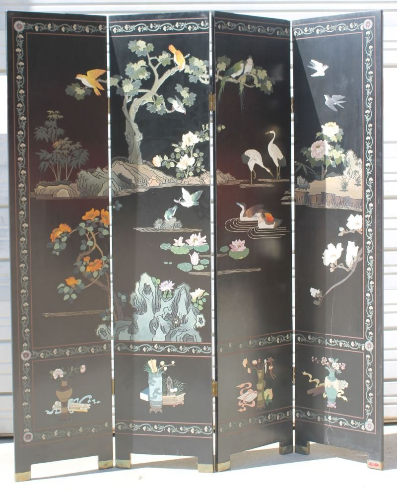 Beautiful Chinese 4 panel lacquered screen w birds,