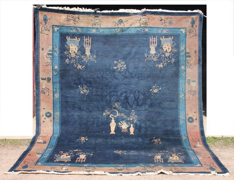 "9'x11'4"" antique blue Chinese Oriental rm size rug -"