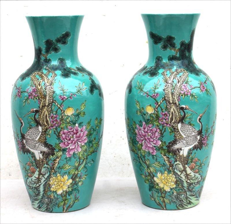 pr of Chinese porcelain Famille Verte vases w bird &