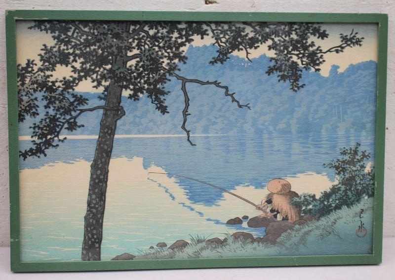 """Japanese woodblock print w fisherman motif - 9 1/2"""" x"""