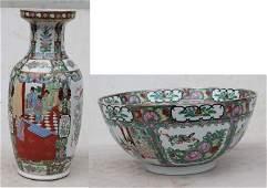 "20thC Chinese Rose Medallion 18"" vase & 14"" diam punch"