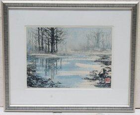Japanese Woodblock Print Snow Storm/marsh Scene - 7