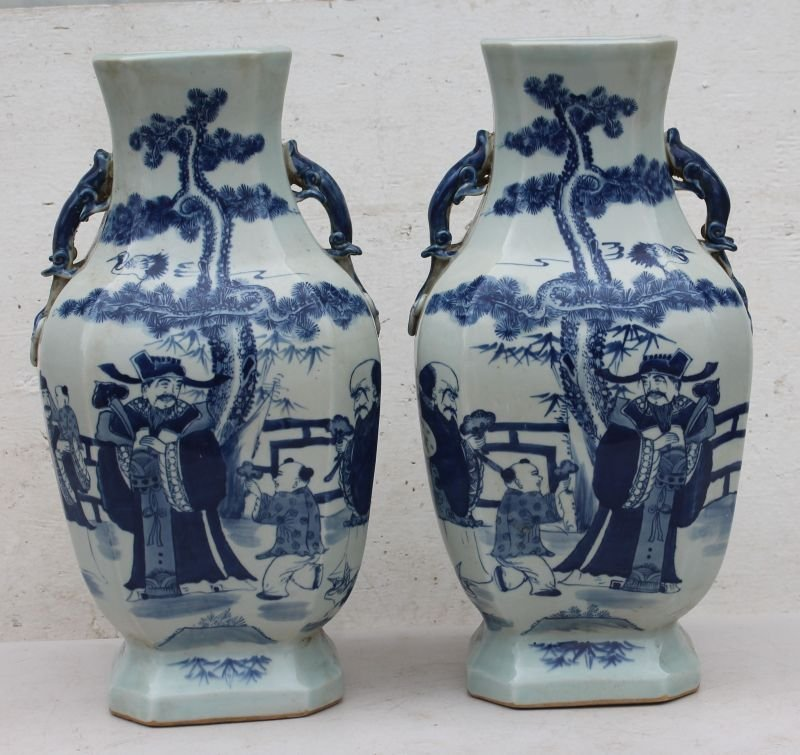 pr of Chinese blue & white porcelain octag shaped vases