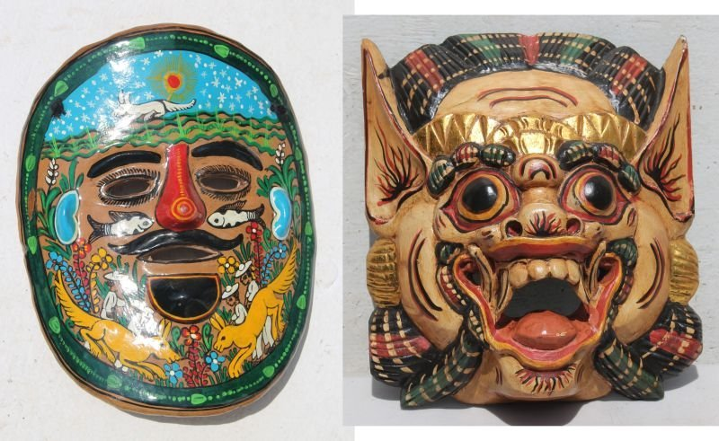 "Wooden carved Balinisian mask - 11"" x 9 3/4"" together w"