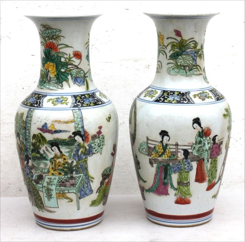 """pr of Chinese porcelain 16 1/2"""" tall vases w"""