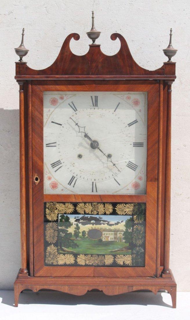 19thC Eli Terry pillar & scroll clock w orig label,