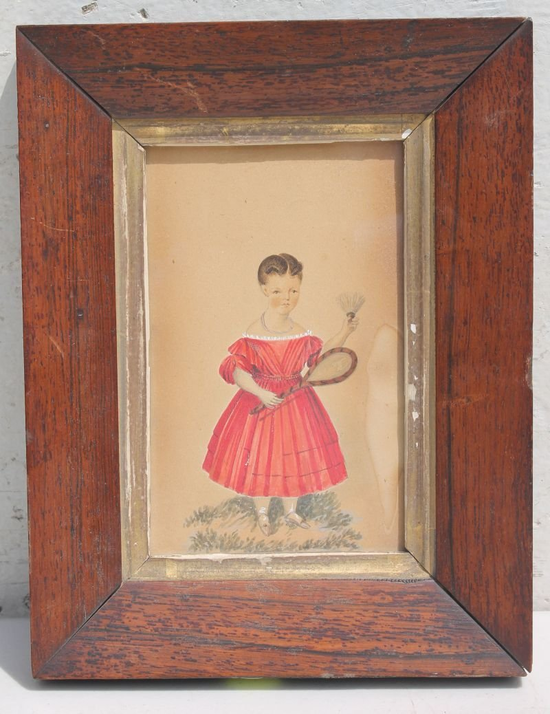 """ca 1830's 6 1/4"""" x 4 1/4"""" w/c of a little girl in red"""