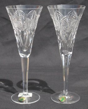 Pr Of Waterford Crystal Champagne Flutes In Orig Box -