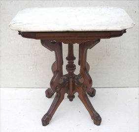 Vict Carved Walnut Turtle Shaped Marble Top Table -