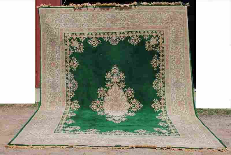 "9'10""x13'2"" semi-antique Persian Kirman Oriental over"