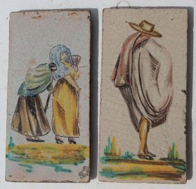 Lot Of 2 18thc Hand Ptd Spanish Tiles By Goya W Info On